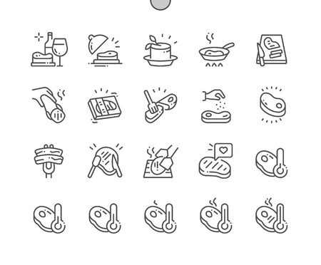 Steak Well-crafted Pixel Perfect Vector Thin Line Icons 30 2x Grid for Web Graphics and Apps. Simple Minimal Pictogram