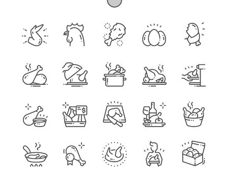 Kip Goed gemaakte Pixel Perfect Vector Dunne lijnpictogrammen 30 2x raster voor webafbeeldingen en apps. Eenvoudig minimaal pictogram