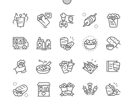 Kebabs Well-crafted Pixel Perfect Vector Thin Line Icons 30 2x Grid for Web Graphics and Apps. Simple Minimal Pictogram