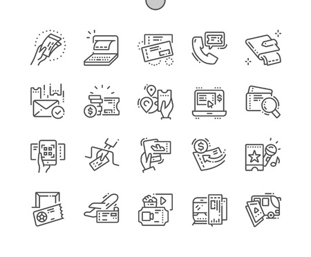 Ticket Well-crafted Pixel Perfect Vector Thin Line Icons 30 2x Grid for Web Graphics and Apps. Simple Minimal Pictogram Ilustração
