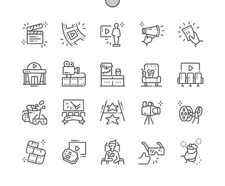 Cinema Well-crafted Pixel Perfect Vector Thin Line Icons 30 2x Grid for Web Graphics and Apps.
