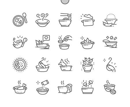 Sopa Iconos de líneas finas vectoriales Pixel perfectos bien elaborados Cuadrícula de 30 2x para gráficos y aplicaciones web. Pictograma mínimo simple Ilustración de vector
