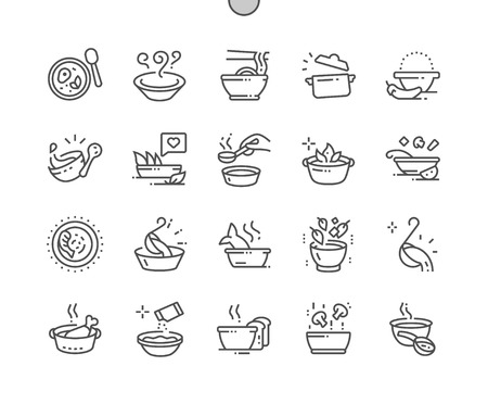 Zuppa Pixel Perfect Vector Thin Line Icone ben realizzate 30 Griglia 2x per grafica Web e app. Pittogramma minimale semplice Vettoriali