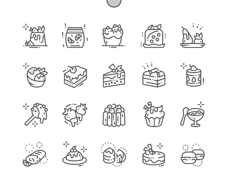 Postres Iconos de líneas finas vectoriales Pixel perfectos bien elaborados Cuadrícula de 30 2x para gráficos y aplicaciones web.