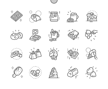 Chocolate Well-crafted Pixel Perfect Vector Thin Line Icons 30 2x Grid for Web Graphics and Apps. Simple Minimal Pictogram Vetores