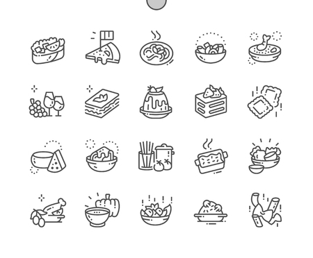 Italian cuisine Well-crafted Pixel Perfect Vector Thin Line Icons 30 2x Grid for Web Graphics and Apps. Иллюстрация
