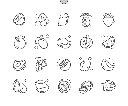 Fruits Well-crafted Pixel Perfect Vector Thin Line Icons 30 2x Grid for Web Graphics and Apps. Stock Vector - 109774722