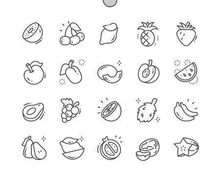 Frutta Icone ben realizzate Pixel Perfect Vector Thin Line 30 Griglia 2x per grafica Web e app. Vettoriali