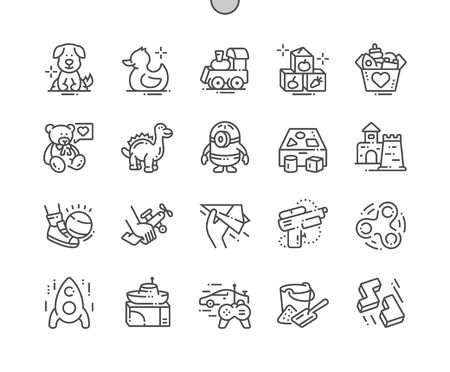 Toys Well-crafted Pixel Perfect Vector Thin Line Icons 30 2x Grid for Web Graphics and Apps. Illustration
