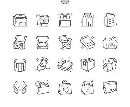 Packaging Well-crafted Pixel Perfect Vector Thin Line Icons 30 2x Grid for Web Graphics and Apps. Simple Minimal Pictogram