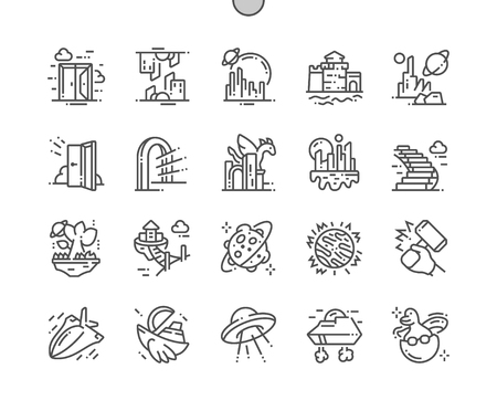 Mondes fantastiques et parallèles Bien conçus Pixel Perfect Vector Thin Line Icons 30 2x Grid for Web Graphics and Apps.