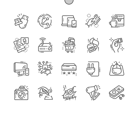 Electronics Well-crafted Pixel Perfect Vector Thin Line Icons 30 2x Grid for Web Graphics and Apps. Illustration