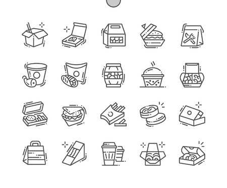 Food packaging Well-crafted Pixel Perfect Vector Thin Line Icons 30 2x Grid for Web Graphics and Apps. Simple Minimal Pictogram Banque d'images - 109834950