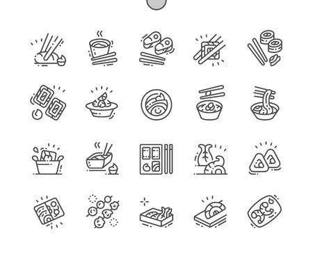 Nourriture japonaise bien conçue Pixel Perfect Vector Thin Line Icons 30 Grille 2x pour les graphiques Web et les applications. Pictogramme minimal simple