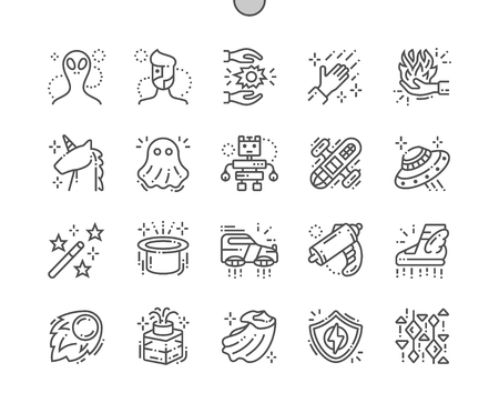 Fantasy Well-crafted Pixel Perfect Vector Thin Line Icons 30 2x Grid for Web Graphics and Apps.