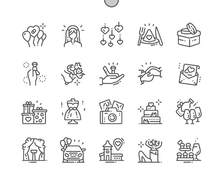 Wedding Well-crafted Pixel Perfect Vector Thin Line Icons 30 2x Grid for Web Graphics and Apps.