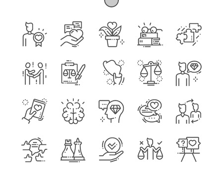 Ethics Well-crafted Pixel Perfect Vector Thin Line Icons 30 2x Grid for Web Graphics and Apps. Simple Minimal Pictogram Vectores