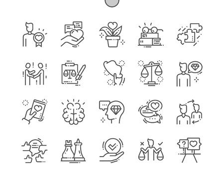 Etica Pixel Perfect Vector Thin Line Icone ben realizzate 30 Griglia 2x per grafica Web e app. Pittogramma minimale semplice Vettoriali