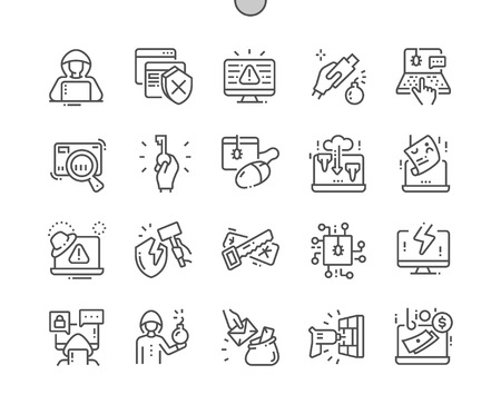 Hacker Well-crafted Pixel Perfect Vector Thin Line Icons 30 2x Grid for Web Graphics and Apps. Simple Minimal Pictogram Illustration