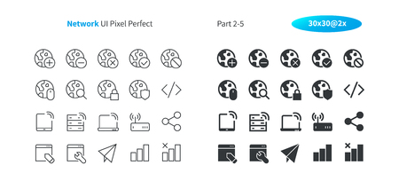 Network UI Pixel Perfect Well-crafted Vector Thin Line And Solid Icons 30 2x Grid for Web Graphics and Apps. Simple Minimal Pictogram Part 2-5 写真素材 - 110490878