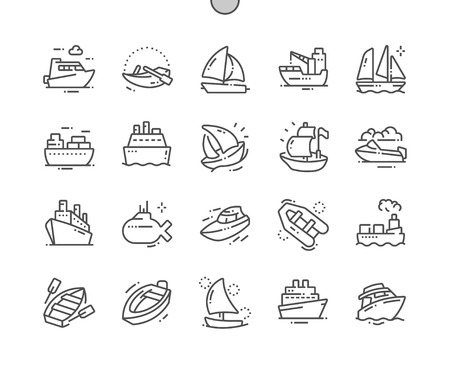 Ships and Boats Well-crafted Pixel Perfect Vector Thin Line Icons 30 2x Grid for Web Graphics and Apps. Simple Minimal Pictogram 写真素材