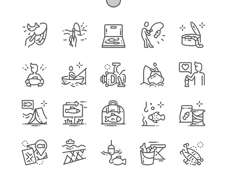 Fishing Well-crafted Pixel Perfect Vector Thin Line Icons 30 2x Grid for Web Graphics and Apps. Simple Minimal Pictogram