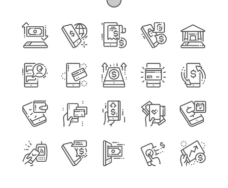 M-banking Well-crafted Pixel Perfect Vector Thin Line Icons 30 2x Grid for Web Graphics and Apps. Simple Minimal Pictogram Zdjęcie Seryjne