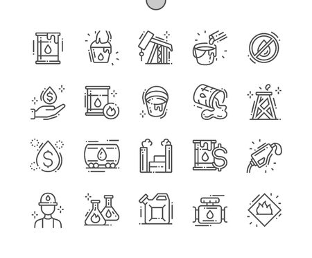Oil industry Well-crafted Pixel Perfect Vector Thin Line Icons 30 2x Grid for Web Graphics and Apps. Simple Minimal Pictogram