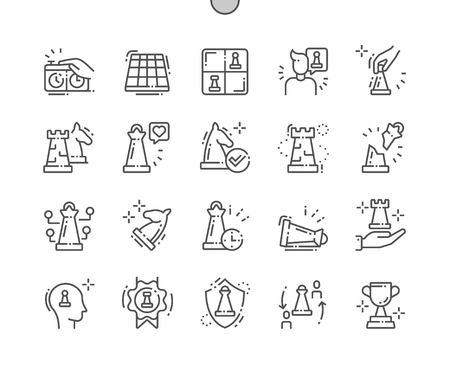 Échecs bien conçus Pixel Perfect Vector Thin Line Icons 30 Grille 2x pour les graphiques et les applications Web. Pictogramme minimal simple Vecteurs