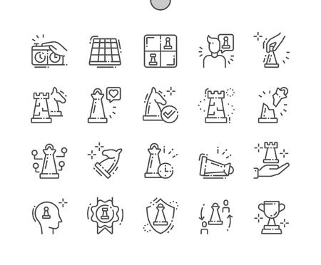 Schach Gut gestaltete Pixel Perfect Vector Thin Line Icons 30 2x Raster für Webgrafiken und Apps. Einfaches minimales Piktogramm Vektorgrafik