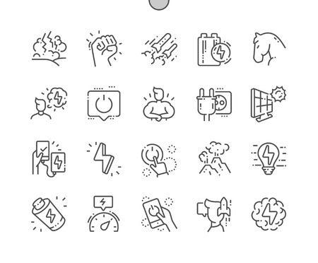 Power Well-crafted Pixel Perfect Vector Thin Line Icons 30 2x Grid for Web Graphics and Apps. Simple Minimal Pictogram