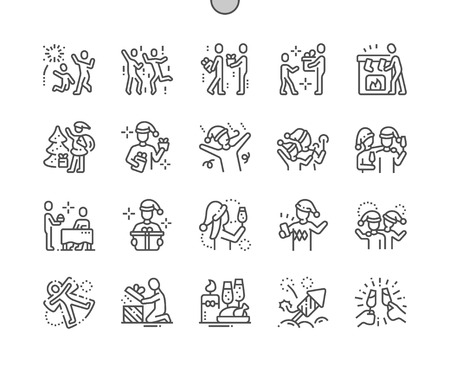People celebrate Christmas Well-crafted Pixel Perfect Vector Thin Line Icons 30 2x Grid for Web Graphics and Apps. Simple Minimal Pictogram Stock Photo
