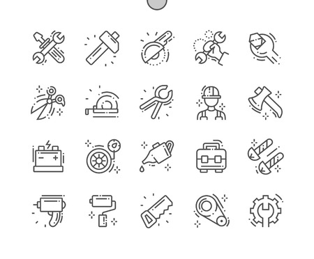 Workshop Well-crafted Pixel Perfect Vector Thin Line Icons 30 2x Grid for Web Graphics and Apps. Simple Minimal Pictogram Stock Photo