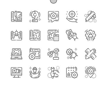 Engineering Well-crafted Pixel Perfect Vector Thin Line Icons 30 2x Grid for Web Graphics and Apps. Simple Minimal Pictogram Standard-Bild