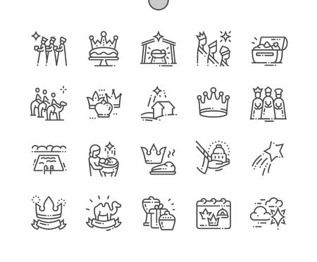 Epifanía Pixel Perfect Vector Iconos de líneas finas bien elaborados Cuadrícula de 30 2x para gráficos y aplicaciones web. Pictograma mínimo simple