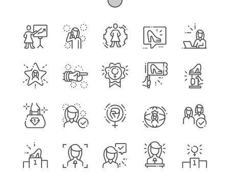 Líderes femeninas Iconos de líneas finas de píxeles perfectos vectoriales bien elaborados Cuadrícula de 30 2x para gráficos y aplicaciones web. Pictograma mínimo simple