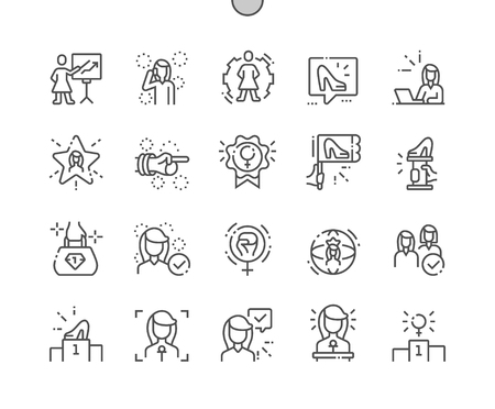 Vrouwelijke leiders goed gemaakte Pixel Perfect Vector dunne lijn pictogrammen 30 2x raster voor webafbeeldingen en apps. Eenvoudig minimaal pictogram