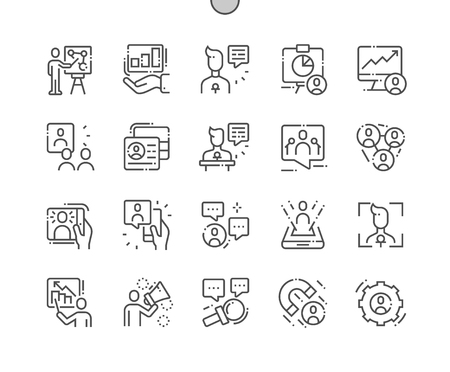 Boeiende presentaties Goed gemaakte Pixel Perfect Vector dunne lijn pictogrammen 30 2x raster voor webafbeeldingen en apps. Eenvoudig minimaal pictogram