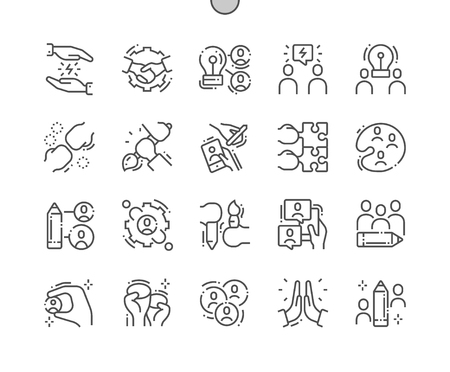 Creative Team Well-crafted Pixel Perfect Vector Thin Line Icons 30 2x Grid for Web Graphics and Apps. Simple Minimal Pictogram