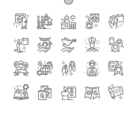 World Religion Day Well-crafted Pixel Perfect Vector Thin Line Icons 30 2x Grid for Web Graphics and Apps. Simple Minimal Pictogram Illustration