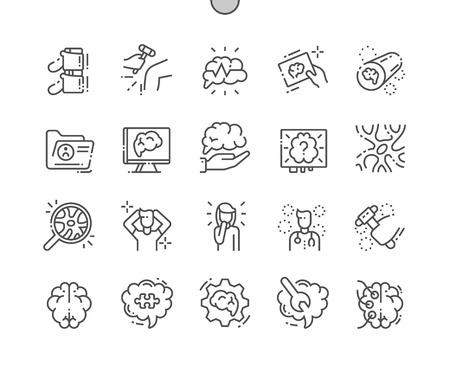 Neurología Iconos de líneas finas de píxeles perfectos vectoriales bien elaborados Cuadrícula de 30 2x para gráficos y aplicaciones web. Pictograma mínimo simple