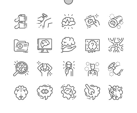Neurology Well-crafted Pixel Perfect Vector Thin Line Icons 30 2x Grid for Web Graphics and Apps. Simple Minimal Pictogram