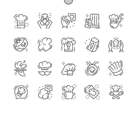 Chapeau de chef bien conçu Pixel Perfect Vector Thin Line Icons 30 Grille 2x pour les graphiques Web et les applications. Pictogramme minimal simple