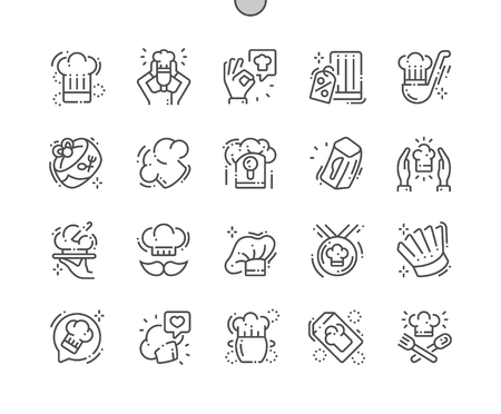 Chefs hat Well-crafted Pixel Perfect Vector Thin Line Icons 30 2x Grid for Web Graphics and Apps. Simple Minimal Pictogram