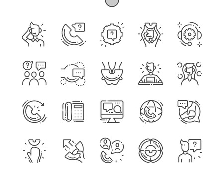 Support service Well-crafted Pixel Perfect Vector Thin Line Icons 30 2x Grid for Web Graphics and Apps. Simple Minimal Pictogram