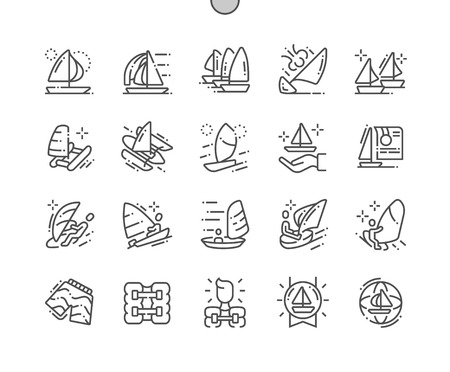 Sailing Well-crafted Pixel Perfect Vector Thin Line Icons 30 2x Grid for Web Graphics and Apps. Simple Minimal Pictogram