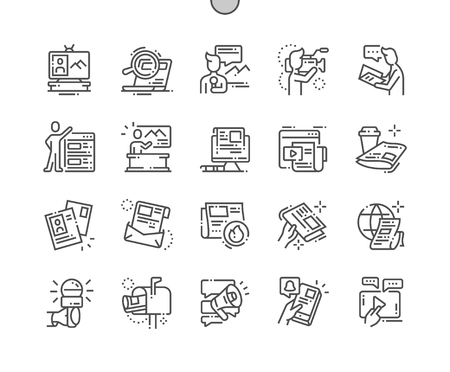 News Well-crafted Pixel Perfect Vector Thin Line Icons 30 2x Grid for Web Graphics and Apps. Simple Minimal Pictogram 向量圖像