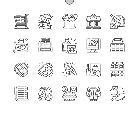 Supermarket Well-crafted Pixel Perfect Vector Thin Line Icons 30 2x Grid for Web Graphics and Apps. Simple Minimal Pictogram