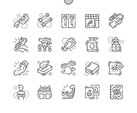 Tattoo Studio Pixel ben realizzato vettore perfetto sottile linea icone 30 2x griglia per grafica Web e app. Pittogramma minimale semplice