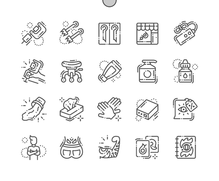 Tattoo Studio Pixel Perfect Vector Thin Line Icons 30 2x Grid for Web Graphics and Apps. Pictogramme minimal simple